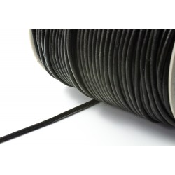 Lederband 3 mm, rund, schwarz